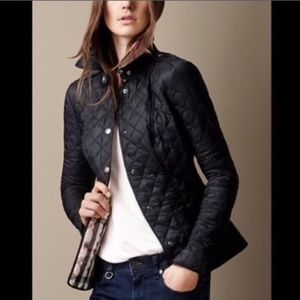 BURBERRY Black Quilted Jacket / Nova Check Lining